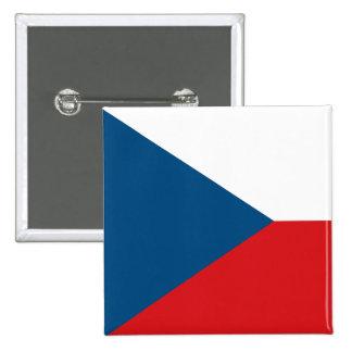 Botón de la bandera de la República Checa Pin Cuadrado