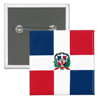 Botón de la bandera de la República Dominicana Pin Cuadrado