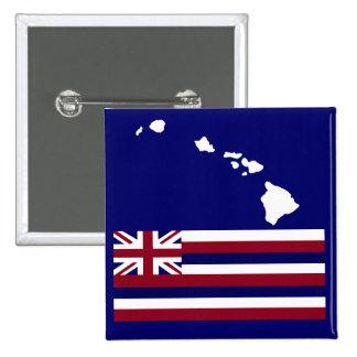 Botón de la bandera de las islas hawaianas n pin cuadrado