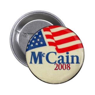 Botón de la bandera de McCain 2008 Pin Redondo De 2 Pulgadas
