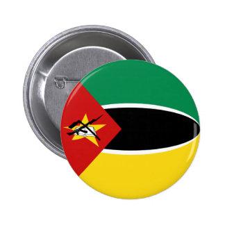 Botón de la bandera de Mozambique Fisheye Pin Redondo De 2 Pulgadas