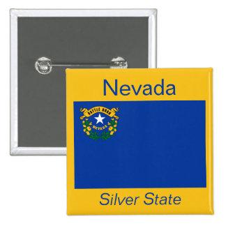 Botón de la bandera de Nevadan Pin Cuadrado
