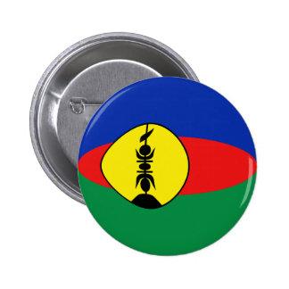 Botón de la bandera de Nueva Caledonia Fisheye Pin Redondo De 2 Pulgadas