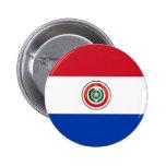 Botón de la bandera de Paraguay Pin Redondo De 2 Pulgadas