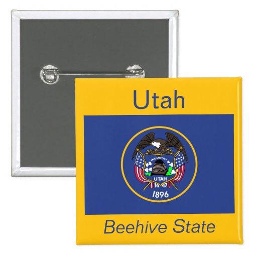 Botón de la bandera de Utah Pin Cuadrado