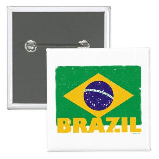 Botón de la bandera del Brasil del vintage Pin Cuadrado