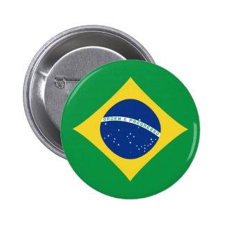 Botón de la bandera del Brasil Fisheye Pin Redondo De 2 Pulgadas