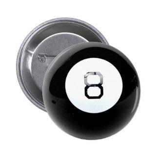 Botón de la bola de la magia 8 pin redondo de 2 pulgadas