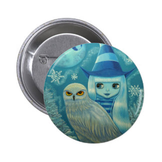 Botón de la bruja del búho Nevado