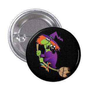 Botón de la bruja del dibujo animado pin redondo de 1 pulgada