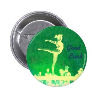 Botón de la buena suerte del gimnasta pin redondo de 2 pulgadas