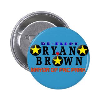 Botón de la campaña de reelección de Ryan Brown Pin Redondo De 2 Pulgadas