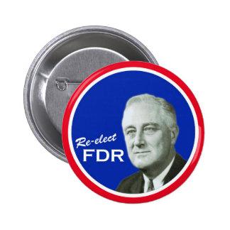 Botón de la campaña del FDR Pin Redondo De 2 Pulgadas