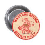 Botón de la cápsula de leche del vintage pins