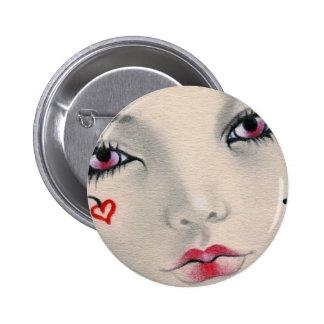 Botón de la cara del corazón del bufón de la reina pin redondo de 2 pulgadas