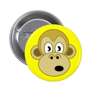 Botón de la cara del mono - amarillo pin redondo de 2 pulgadas
