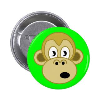 Botón de la cara del mono - verde pin redondo de 2 pulgadas