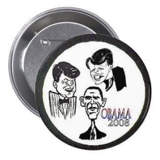 Botón de la caricatura de JFK/RFK/BHO Pin Redondo De 3 Pulgadas