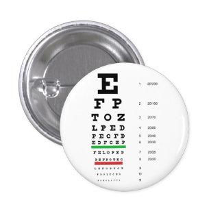 Botón de la carta de ojo de Snellen Pin Redondo De 1 Pulgada