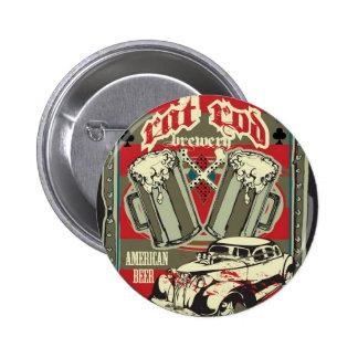 Botón de la cervecería de Rod de la rata Pin Redondo De 2 Pulgadas