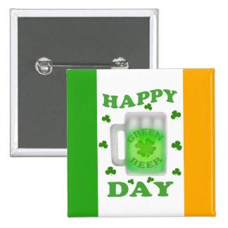 Botón de la cerveza del verde del día de St Patric Pin