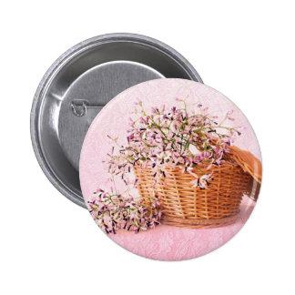 Botón de la cesta de la flor del vintage pin redondo de 2 pulgadas