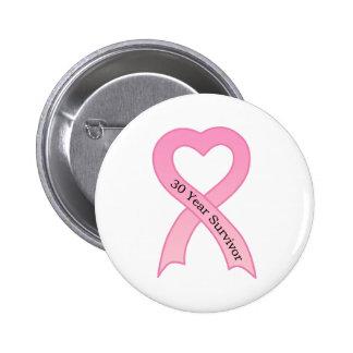 Botón de la cinta del rosa del superviviente de 30 pin redondo de 2 pulgadas