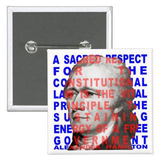 Botón de la cita de Alexander Hamilton Pin Cuadrado