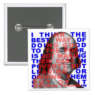 Botón de la cita de Benjamin Franklin Pin