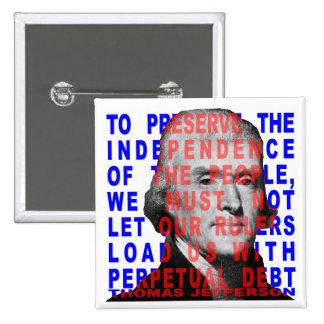 Botón de la cita de Thomas Jefferson Pins