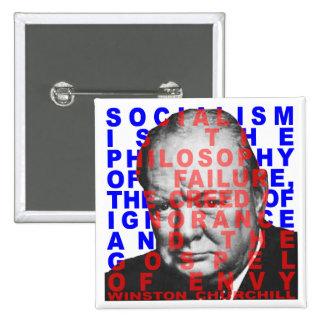 Botón de la cita de Winston Churchill Pin Cuadrado