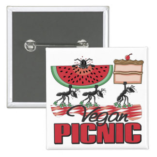 Botón de la comida campestre del vegano pins