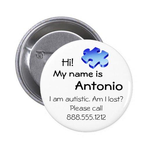 Botón de la conciencia del autismo con su nombre y pin