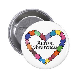 Botón de la conciencia del autismo del corazón del pin redondo de 2 pulgadas
