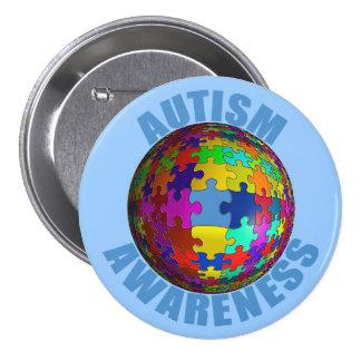 Botón de la conciencia del autismo del mundo pin redondo de 3 pulgadas