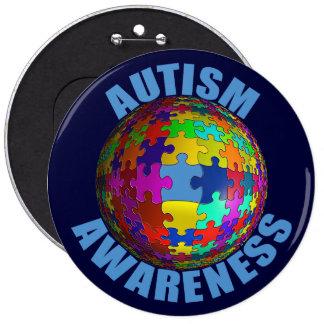 Botón de la conciencia del autismo del mundo pin redondo de 6 pulgadas