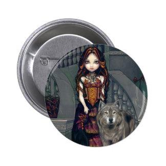 """""""Botón de la condesa del lobo"""" Pin Redondo De 2 Pulgadas"""
