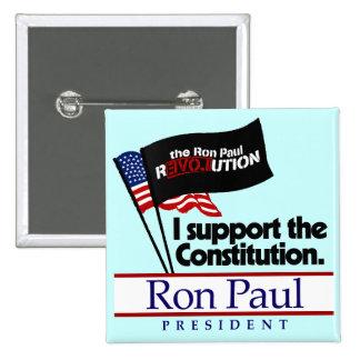 Botón de la constitución de Ron Paul Pin Cuadrado