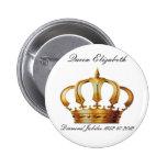 Botón de la corona de la reina Elizabeth Pin