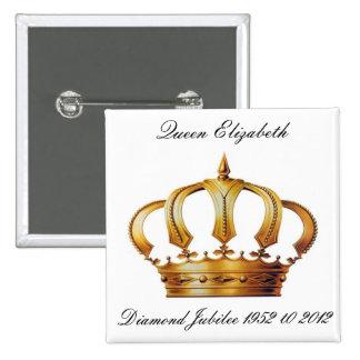 Botón de la corona de la reina Elizabeth Pin Cuadrado