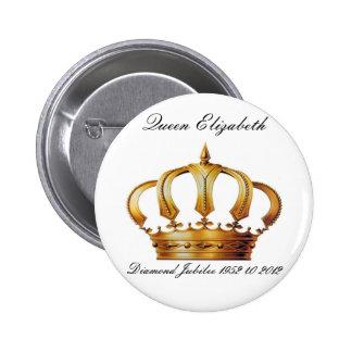Botón de la corona de la reina Elizabeth Pin Redondo De 2 Pulgadas