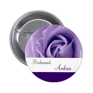 Botón de la DAMA DE HONOR con color de rosa PÚRPUR Pins