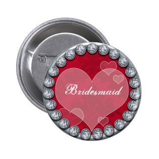 Botón de la dama de honor con el corazón de plata  pin redondo de 2 pulgadas