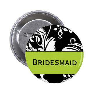 Botón de la dama de honor de B&G Pin Redondo De 2 Pulgadas