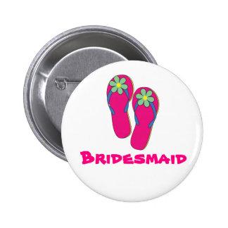 Botón de la dama de honor del boda de playa: Diseñ Pin Redondo De 2 Pulgadas