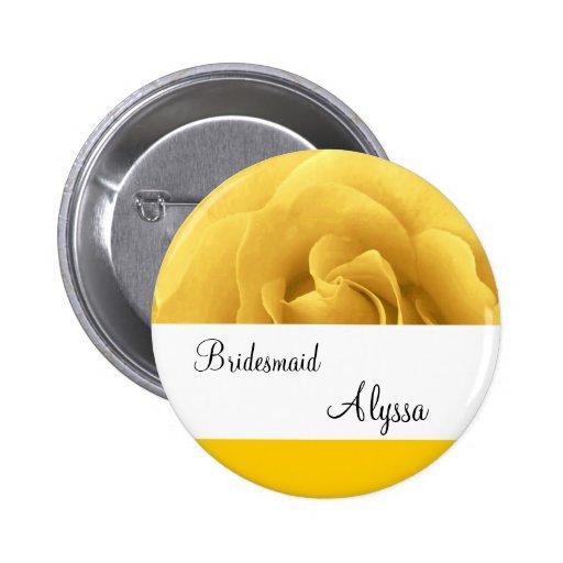 Botón de la dama de honor del boda del rosa pin redondo de 2 pulgadas