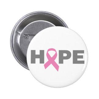 Botón de la esperanza del cáncer de pecho pin redondo de 2 pulgadas