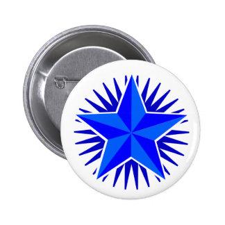 Botón de la estrella azul pin redondo de 2 pulgadas