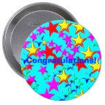 Botón de la estrella de la enhorabuena pin
