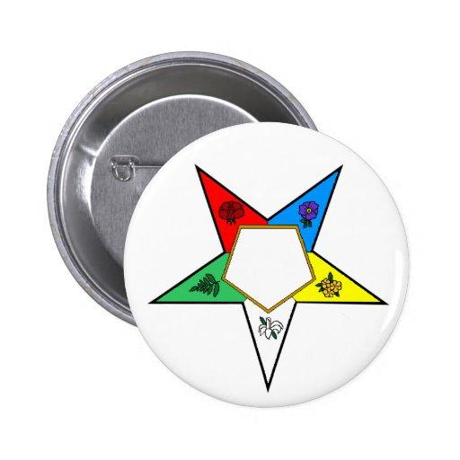 Botón de la estrella de la flor de OES Pin Redondo De 2 Pulgadas